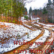 Country Lane Holiday Card Poster
