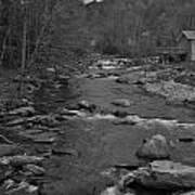 Country Stream Bw Poster