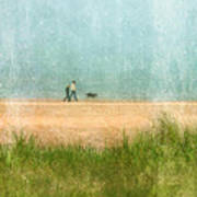 Couple On Beach With Dog Poster