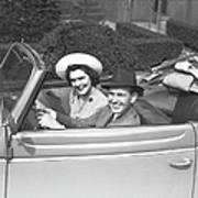 Couple Riding In Old Fashion Convertible Car, (b&w),, Portrait Poster by George Marks