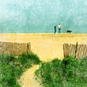 Couple Walking Dog On Beach Poster by Jill Battaglia