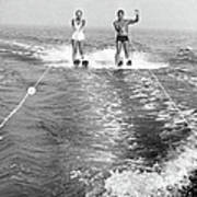 Couple Water Skiing Poster