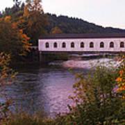 Covered Bridge At Dawn No. 2 Poster