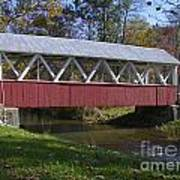 Covered Bridge In Fall Poster