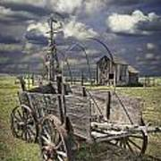 Covered Wagon And Farm In 1880 Town Poster
