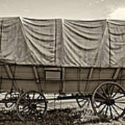 Covered Wagon Sepia Poster