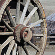 Covered Wagon Wheel Poster