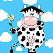 Cow Daisy Poster