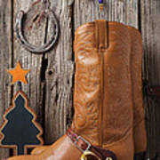 Cowboy Boots And Christmas Ornaments Poster