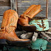 Cowboy Boots Western Still Life Poster