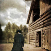 Cowboy Walking By Barn Poster