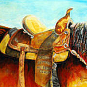 Cowgirl Saddle Poster