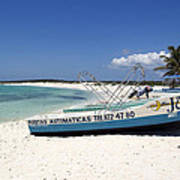 Cozumel Mexico Fishing Boats On White Sand Beach Poster
