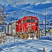 Cp Rail Train In Winter Hdr Poster