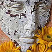 Cracked Face And Sunflowers Poster