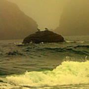 Crashing Waves And Fog Poster