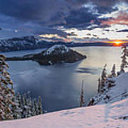 Crater Lake Snow Sunrise Poster