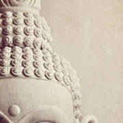 Cropped Stone Buddha Head Statue Poster by Lyn Randle