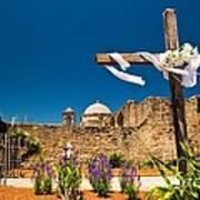 Cross At Mission San Jose Texas Poster
