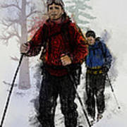 Cross Country Skiers Poster