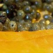 Cross Section Of A Cut Papaya With The Fruit And The Seeds Poster