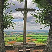 Crucifix Overlooking The French Countryside Poster