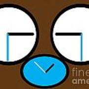 Crying Monkey In Clock Faces Poster