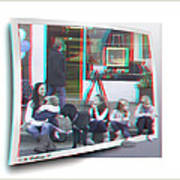 Curb Resting - Red-cyan 3d Glasses Required Poster