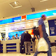 Currency Exchange At An Airport Poster