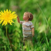Cute Tiny Boy Playing In The Grass Poster by Jaroslaw Grudzinski