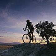Cyclist At Sunset, Northern Arizona Poster