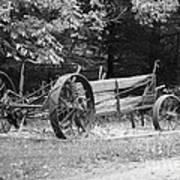 Decaying Wagon Black And White Poster