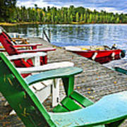 Deck Chairs On Dock At Lake Poster by Elena Elisseeva