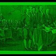 Declaration Of Independence In Green Poster by Rob Hans