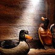 Decoys In Old Hunting Cabin Poster