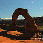 Delicate Arch Under Moonlight Poster