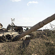 Destroyed Iraqi Tanks Near Camp Slayer Poster by Terry Moore