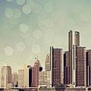 Detroit Dreamy Skyline Poster