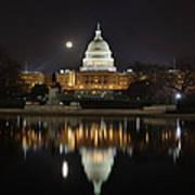 Digital Liquid - Full Moon At The Us Capitol Poster