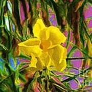 Digital Painting Of Yellow Orchid Poster
