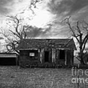 Dilapidated Old Farm House . 7d10341 . Black And White Poster by Wingsdomain Art and Photography