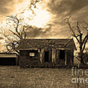 Dilapidated Old Farm House . 7d10341 . Sepia Poster