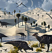 Dinosaurs Gather At A Life Saving Oasis Poster