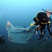 Diver Removes Invasive Indo-pacific Poster