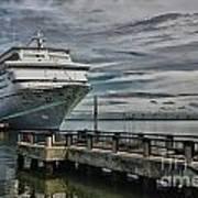 Docked Cruise Ship Three Poster