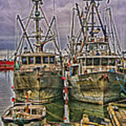Docked Fishing Boats Hdr Poster