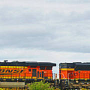 Double Bnsf Engines Poster