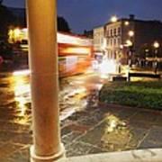 Double Decker Blur In The Rain Poster