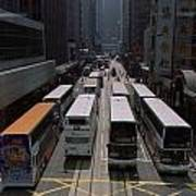 Double Decker Buses In The Streets Poster