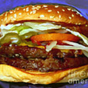 Double Whopper With Cheese And The Works - V2 - Painterly - Purple Poster by Wingsdomain Art and Photography